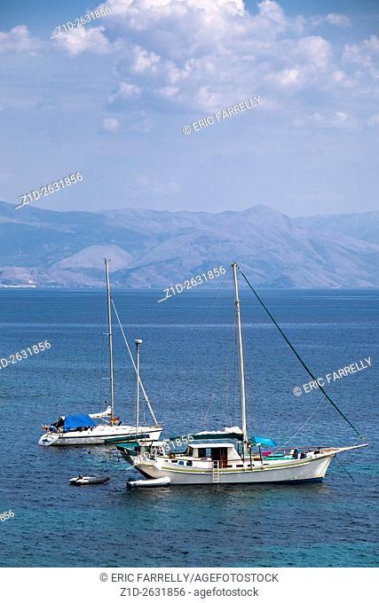Yachts at anchor off Corfu Town Corfu