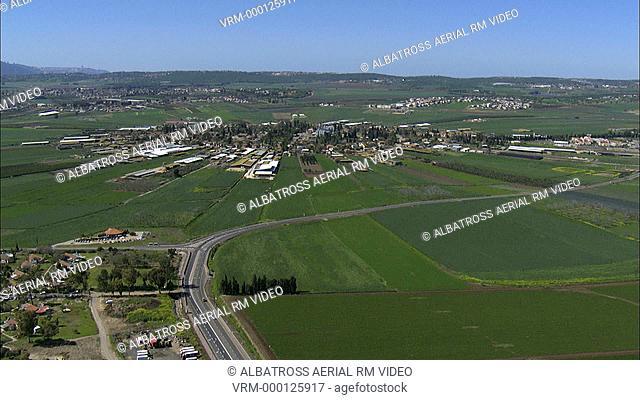 Aerial HD shot of Moshav Nahalal; Jezreel Valley; Israel