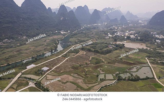 Aerial view of the countryside in Yangshuo in Guanxi province, China