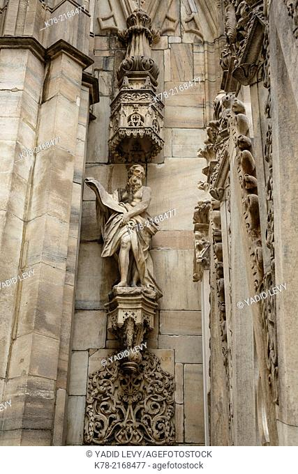 Detail of the Duomo Cathedral, Milan, Italy