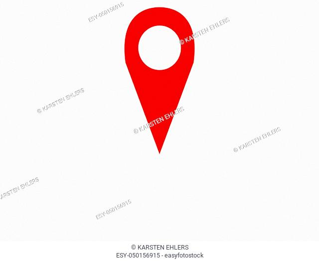 Pin icon with red color - Symbol for Location, Position or Navigation