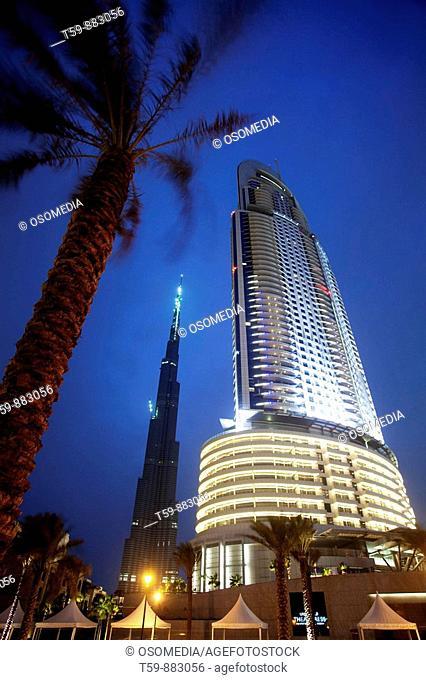 The Address Hotel with Burj Dubai Tower in Dubai