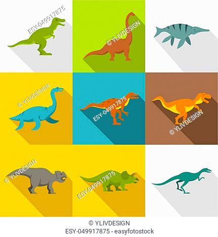 Dinosaur icon set. Flat style set of 9 dinosaur icons for web design