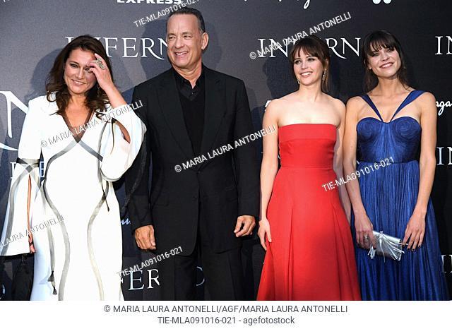 Side Babette Knudsen, Tom Hanks, Felicity Jones, Ana Uluru during the red carpet of film Inferno, Florence, ITALY-08-10-2016
