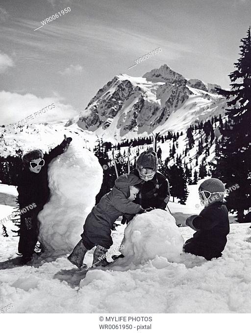 mountain snowmen