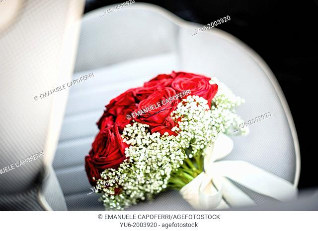 Bouquet on the seat of a car