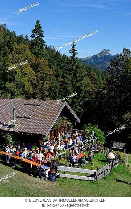 Hikers at the Mitter Hut on the Hochalm, Isarwinkel, Tölzer Land, Upper Bavaria, Bavaria, Germany