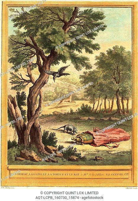 Quentin-Pierre Chedel after Jean-Baptiste Oudry (French, 1705 - 1763 ), Le corbeau, la gazelle, la tortue et le rat (The Crow, the Gazelle, the Tortoise, and