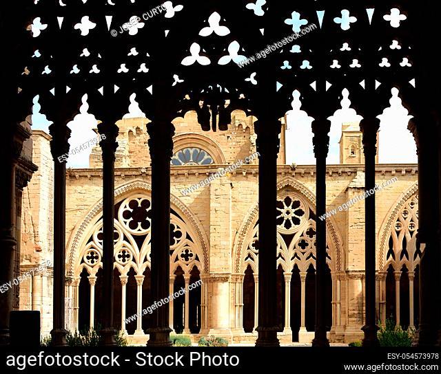 cloister of the Cathedral of LLeida, La Seu Vella, LLeida, Catalonia, Spain