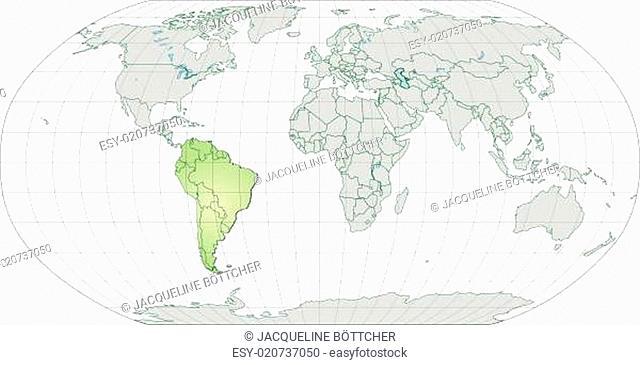 Karte von Suedamerika mit Grenzen in Pastellgrün