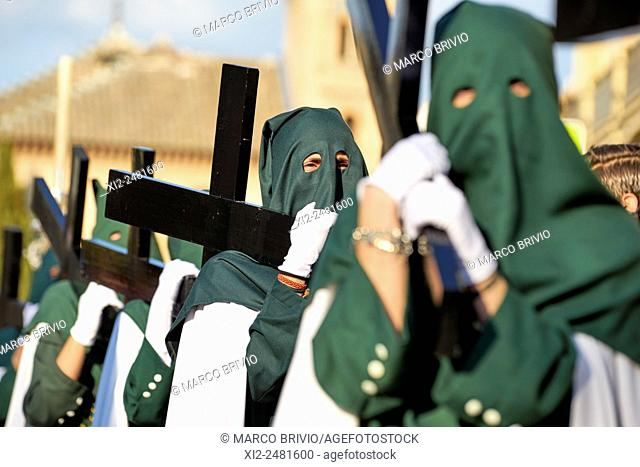 Granada: the distinctive cloaks and hoods capirotes of Spanish Holy Week processions. Spain