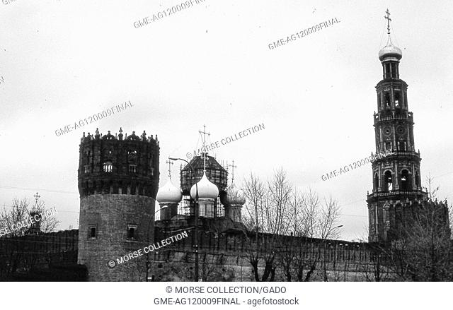 View facing northwest of church buildings within the walls of the Novodevichy Convent complex, in Moscow, Soviet Russia, USSR, November, 1973