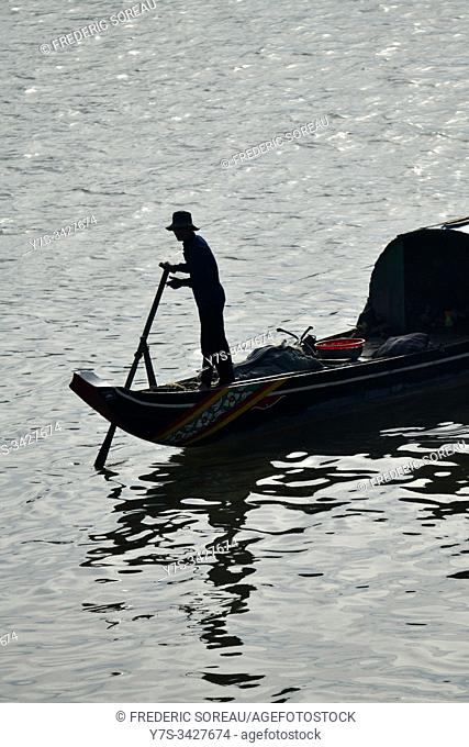 Fisherman boat on the Mekong river in Phnom Penh,Cambodia,South Esat Asia