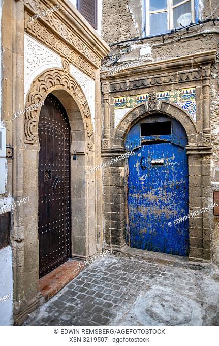 Blue Door in a Bick Road Alley, Essaouira, Marrakesh-Safi, Morocco