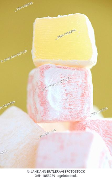 sweet tower of turkish delight - pink and yellow cubes