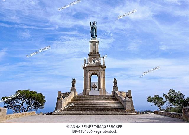 Christ statue Cristo Rei, Puig de San Salvador, Felanitx, Majorca, Balearic Islands, Spain