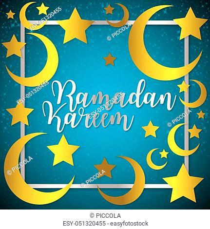 Moon and stars Ramadan Kareem (Generous Ramadan) card in vector format