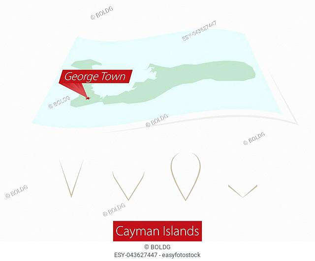 Curved paper map of Cayman Islands with capital George Town on Gray Background. Four different Map pin set. Vector Illustration