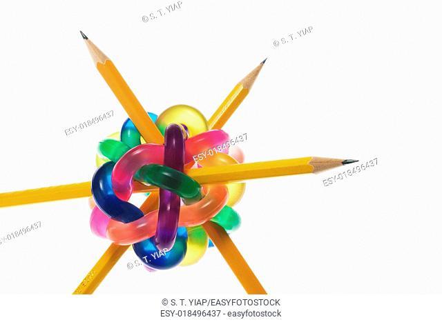 Pencils in colour ball