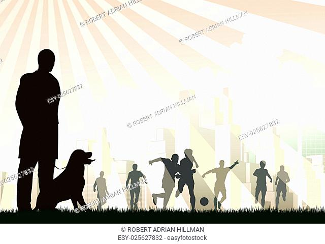 Editable vector illustration of a man watching footballers