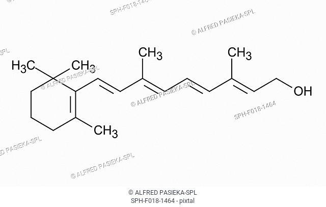 Vitamin A (retinol) molecule. Skeletal formula (chemical structure)