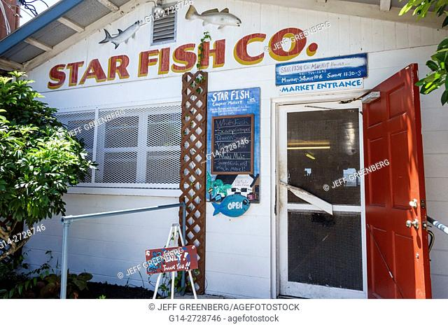 Florida, Gulf of Mexico, Cortez, historic fishing village, Star Fish Company, restaurant, business, waterfront, seafood, retail market, entrance, sign, menu