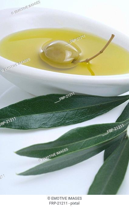 Bowl of olive oil an leaf