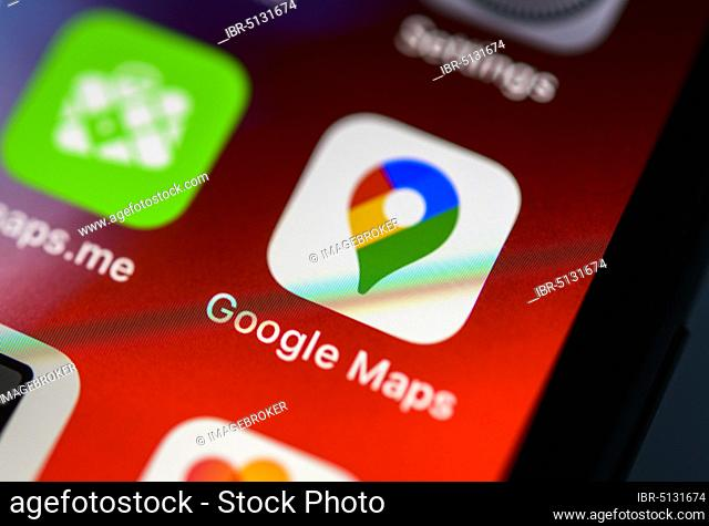 Google Maps App Icon On Iphone Stock Photos And Images Agefotostock