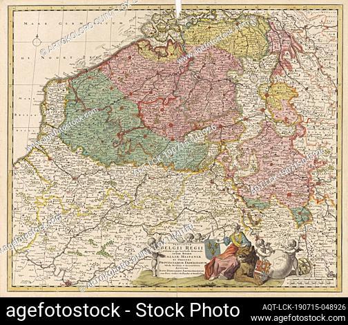 Map of the Southern Netherlands Provinciae Belgium Regii Distinctae eo, quo Sunt hodie divisae modo Inter Regem Galliae, Hispaniae (