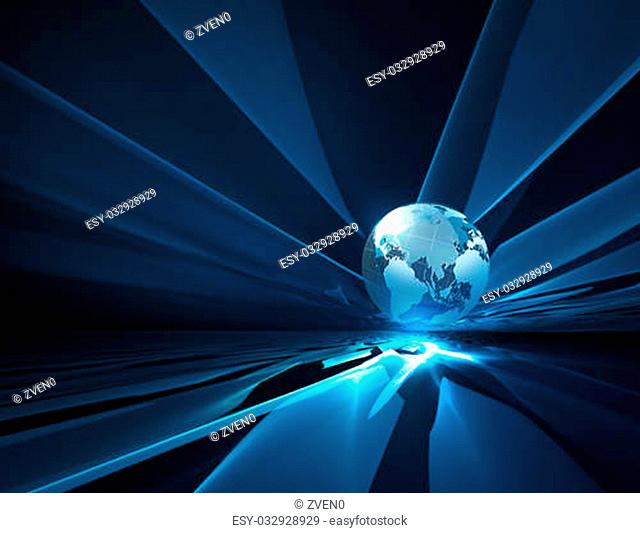 abstract technology background with the planet