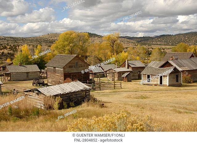 Log cabins in ghost town, Nevada City, Montana, USA