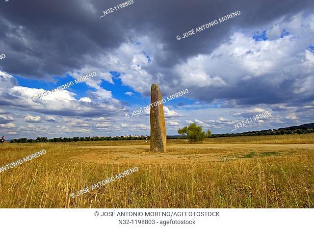 Outeiro Menhir, Megalithic Site near Monsaraz, Outeiro, Evora district, Alentejo, Portugal, Europe