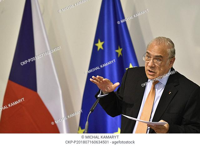 Organisation for Economic Cooperation and Development (OECD) Secretary General Angel Gurria speaks during a press conference after his meeting with Czech Prime...