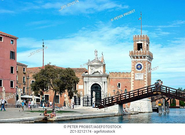 View of the entrance to the historic Venetian Arsenal and Naval Museum in Castello district of Venice - Italy
