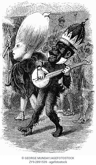 1879: Caricatures of partygoers dressed up for the Mardi Gras Carnival, New Orleans, Louisiana, United States of America