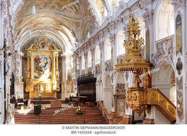 Interior view of Freisinger Dom St. Maria und St. Korbinian, Freising Cathedral of St. Mary and St. Korbinian, Freising, Upper Bavaria, Bavaria, Germany, Europe