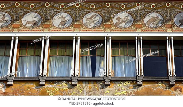 Art Nouveau facade with beautiful paintings, Albert Ciamberlani house built in 1897 by Paul Hankar, Rue Defacqz 48, Brussels, Bruxelles, Belgium, Europe
