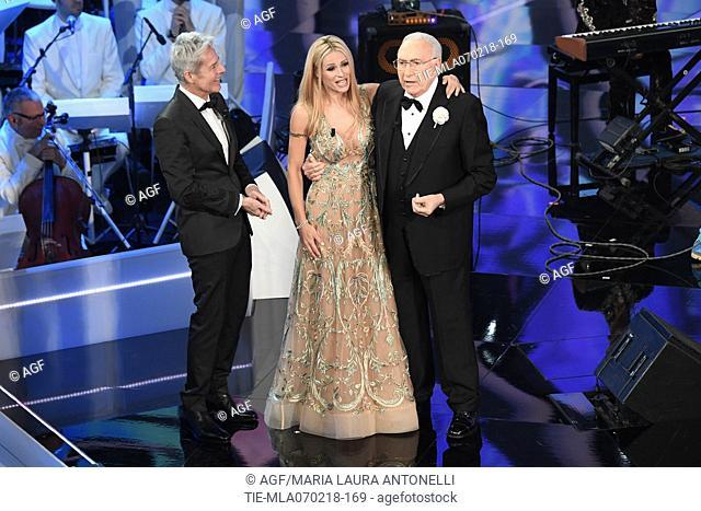 Claudio Baglioni, Michelle Hunziker, Pippo Baudo during Sanremo Italian Music Festival, Sanremo, Italy 07/02/2018