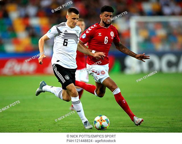 Germany U21 v Denmark U21 - European Under-21 Championship - Group B - Friuli Stadium. Germany's Maximilian Eggestein and Denmark's Philip Billing battle for...