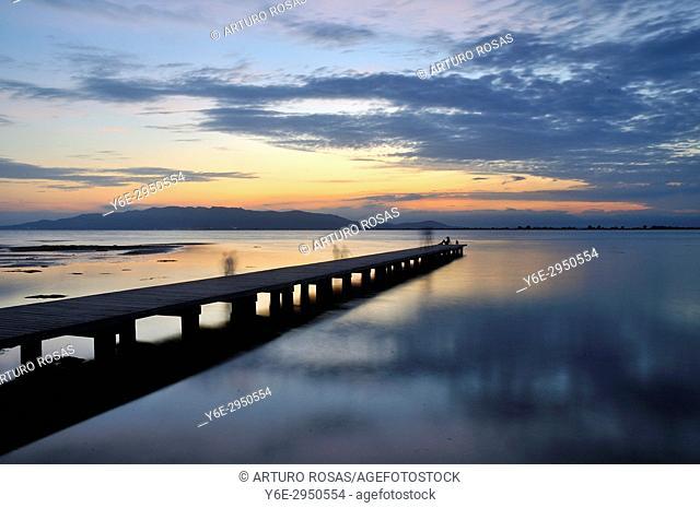 Sunset at El Trabucador Beach in Ebro Delta, Tarragona. Catalonia, Spain