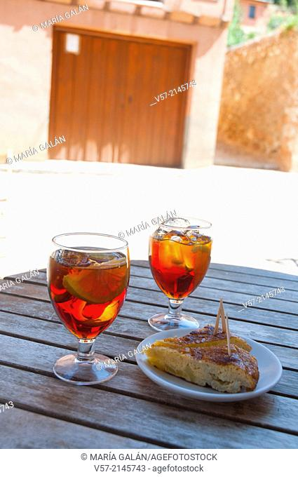 Spanish aperitif: two glasses of vermouth and tapa of Spanish omelet. Spain
