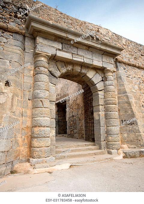 the gate of the leper colony of Spinalonga Island, Crete, Greece