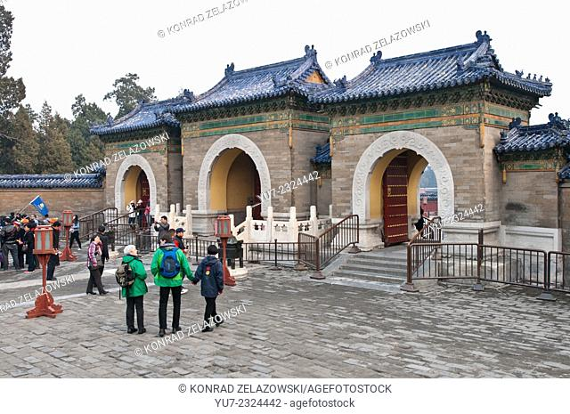 Echo Wall area entrance in taoist Temple of Heaven, Chongwen District Beijing, China