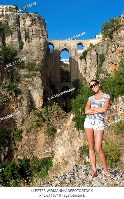 young, pretty woman on summer holiday in Ronda, Spain, Andalusia, Ronda (model-released)