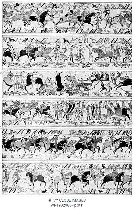 The Bayeux Tapestry is an embroidery whose deisgns chronicle the Norman conquest of England in 1066. Worked on coarse linen, it measures 230 feet by 20 inches