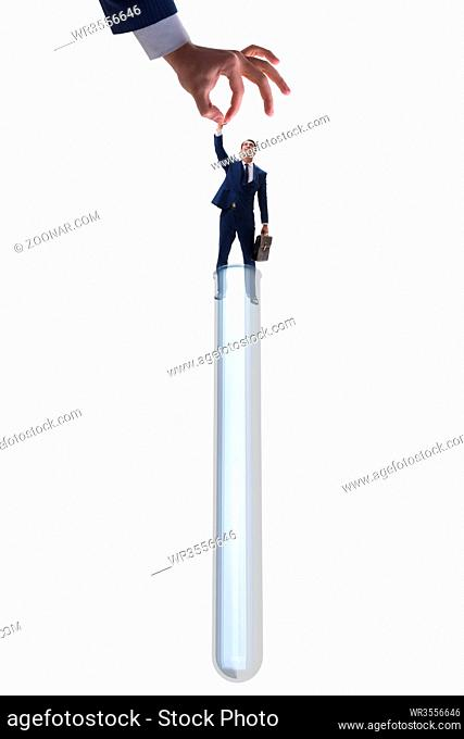 Artificial intelligence concept with businessman out of tube