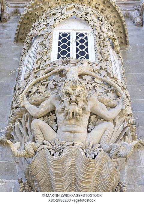 Palacio Nacional da Pena, the national palace Pena, in Sintra near Lisbon, part of the UNESCO world heritage. The Triton Gate