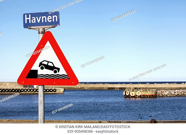 Warning sign. Don't drive into the harbour. Denmark