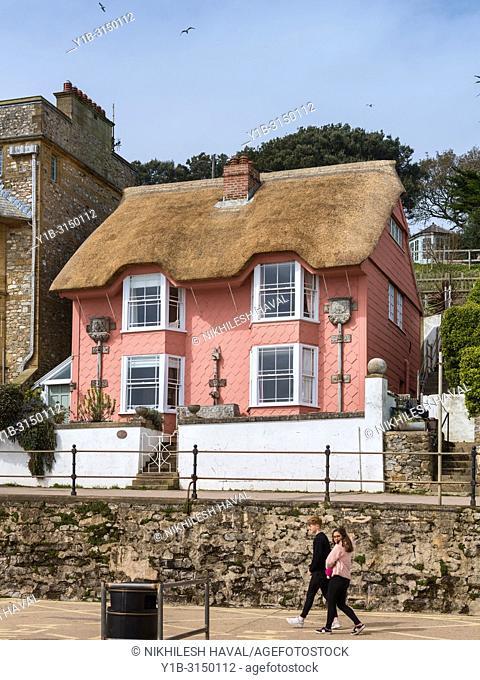 Thatched seaside cottage, Lyme Regis, Dorset, UK