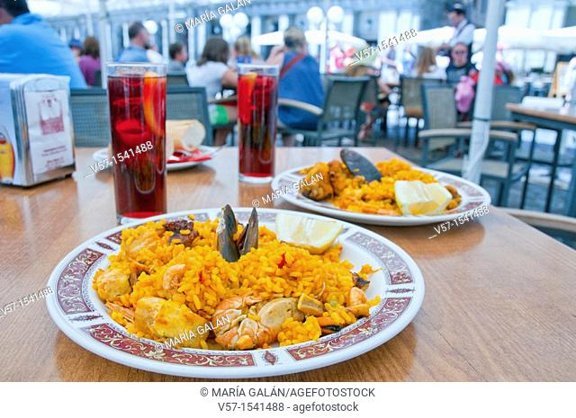 Paella for two, Main Square. Madrid, Spain